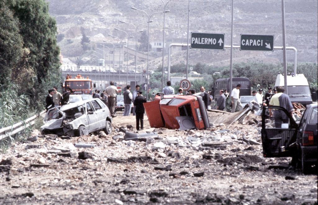 Capaci, Sicilia, 23/05/1992 Atentado de Capaci en el que murió el juez antimafia Giovanni Falcone con su esposa Francesca Morvillo y sus escoltas.