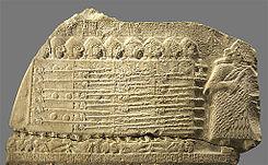 Detalle de un fragmento de la Estela de los buitres.