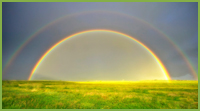 Double rainbow in a meadow, Silt, Colorado, U.S.